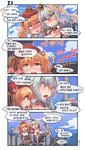 2girls 4koma :d aningay bangs black_legwear blonde_hair blue_shorts blue_sky blush boots breasts brown_skirt cleavage closed_mouth cloud collar collared_shirt comic day detached_collar directional_arrow dress_shirt drooling eyebrows_visible_through_hair fang girls_frontline green_hair grey_eyes hair_between_eyes highres hot korean_text large_breasts long_hair micro_uzi_(girls_frontline) mouth_drool multiple_girls nose_blush open_mouth outdoors pleated_skirt shirt short_shorts shorts skirt sky smile sten_mk2_(girls_frontline) sun_(symbol) sweat thighhighs thighhighs_under_boots translation_request twintails white_collar white_footwear white_shirt wing_collar yellow_eyes