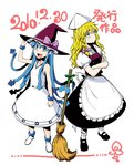 2girls :d ankle_boots annoyed blonde_hair blue_eyes blue_hair bobby_socks boots bracelet broom broom_ribbon colored_eyelashes crossed_arms crossover dress hat headwear_switch ikamusume jewelry kirisame_marisa long_hair mary_janes minato_hitori multiple_girls open_mouth puffy_short_sleeves puffy_sleeves shinryaku!_ikamusume shoes short_sleeves skirt sleeveless sleeveless_dress smile socks squid_hat sundress tentacle_hair touhou very_long_hair wavy_hair