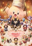 absurdres adeleine anniversary bandana_waddle_dee birthday_cake bow cake chef_hat closed_eyes commentary_request coo_(kirby) dark_meta_knight daroach drawing english_text flamberge_(kirby) food fork francisca_(kirby) fruit gooey hat heart highres hyness icing kine_(kirby) king_dedede kirby kirby:_star_allies kirby_(series) knife magolor marx meta_knight muscle okame_nin one_eye_closed open_mouth ribbon_(kirby) rick_(kirby) size_difference smile sparkling_eyes star strawberry susie_(kirby) taranza tongue tongue_out void_termina whipped_cream zan_partizanne