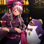 1girl bar bird blonde_hair commentary_request dress eclair_ecleir_eicler frilled_dress frills frown gothic_lolita k-ta lolita_fashion long_hair long_sleeves nail_polish overlord_(maruyama) penguin ponytail red_eyes red_nails shalltear_bloodfallen silver_hair slit_pupils