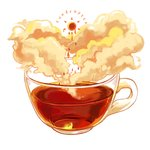 cloud cup drink droplet english_text ichiknees lowres no_humans original sun tea teacup transparent white_background