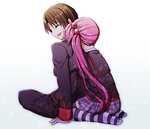 1boy 1girl brown_hair closed_eyes hug hug_from_behind indian_style little_busters! long_hair nananeko naoe_riki purple_hair saigusa_haruka school_uniform seiza short_hair side_ponytail sitting striped striped_legwear thighhighs