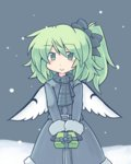 1girl 216 :> alternate_costume belt blue_background blush bow box coat commentary_request daiyousei fairy_wings falling_snow gift gift_box giving green_eyes green_hair hair_bow looking_at_viewer scarf short_hair side_ponytail simple_background smile snow solo touhou wings winter_clothes