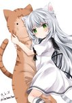 1girl animal_ear_fluff animal_ears bangs black_ribbon black_sailor_collar blush cat_ears cat_girl cat_pillow cat_tail copyright_request dated dress eyebrows_visible_through_hair kneehighs long_hair looking_at_viewer looking_to_the_side nanase_nao pillow pillow_hug puffy_short_sleeves puffy_sleeves red_eyes ribbon sailor_collar sailor_dress short_sleeves silver_hair simple_background solo striped striped_legwear striped_tail tail twitter_username very_long_hair white_background white_dress