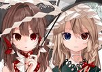 2girls absurdres black_hat blonde_hair blue_eyes bow braid brown_eyes brown_hair close-up gohei gotoh510 hair_bow hair_tubes hakurei_reimu hat heterochromia highres kirisame_marisa looking_at_viewer multiple_girls nail_polish parted_lips portrait red_bow red_eyes red_nails shide side_braid touhou witch_hat
