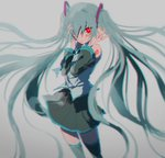 1girl absurdres black_legwear black_skirt blue_hair blurry blush chromatic_aberration depth_of_field detached_sleeves expressionless fingernails floating_hair grey_background grey_shirt hair_over_one_eye hands_on_own_face hatsune_miku highres long_hair looking_away number_tattoo parted_lips pleated_skirt red_eyes rin_(rin7kan7) shirt shoulder_tattoo simple_background skirt sleeveless sleeveless_shirt solo standing tattoo thighhighs thighs twintails very_long_hair vocaloid zettai_ryouiki