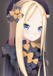 1girl abigail_williams_(fate/grand_order) artist_name bangs black_bow black_dress black_hat blonde_hair blue_eyes blush bow brown_background closed_mouth commentary_request dress eyebrows_visible_through_hair fate/grand_order fate_(series) forehead hair_bow hat highres kanz long_sleeves looking_at_viewer orange_bow parted_bangs polka_dot polka_dot_bow simple_background sleeves_past_wrists smile solo starry_sky_print v-shaped_eyebrows