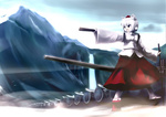 1girl army cannon chipika geta inubashiri_momiji shield solo sword touhou water waterfall weapon