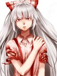1girl blood bloody_clothes colored_eyelashes eyebrows_visible_through_hair frown fujiwara_no_mokou grey_hair hair_ribbon highres kuya_(hey36253625) long_hair looking_at_viewer red_eyes ribbon scowl solo suspenders tied_hair torn_clothes torn_sleeves touhou upper_body white_background white_hair