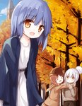 3girls :d >_< autumn autumn_leaves backpack bag bangs belt black_belt blue_hair blue_jacket blue_sky blush brown_eyes brown_hair brown_jacket brown_pants brown_skirt brown_sweater cloud collarbone commentary day dress eyebrows_visible_through_hair hair_between_eyes hair_bun hood hood_down hooded_jacket jacket long_sleeves multiple_girls open_clothes open_jacket open_mouth original outdoors pants parted_lips pleated_skirt silver_hair skirt sky sleeves_past_wrists smile standing sweater tower tree white_dress xd yuuhagi_(amaretto-no-natsu)