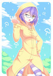 1girl brown_eyes glasses highres looking_at_viewer nugi_(armenci) one_eye_closed open_mouth original purple_hair rain raincoat semi-rimless_glasses short_hair solo striped striped_legwear thighhighs