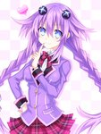 1girl blue_eyes braid breasts choujigen_game_neptune hair_ornament heart hinano jacket long_hair long_sleeves looking_at_viewer neptune_(choujigen_game_neptune) neptune_(series) plaid plaid_skirt purple_hair purple_heart ribbon school_uniform skirt symbol-shaped_pupils twin_braids very_long_hair