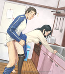 /\/\/\ 1boy 1girl azasuke black_hair blush brown_hair caught doggystyle hetero highres jacket kawachi_daikichi kitchen ladle long_hair male_pubic_hair mature nitani_yukari open_mouth pants pants_pull pantyhose pantyhose_pull pubic_hair sex short_hair skirt spatula track_jacket track_pants usagi_drop