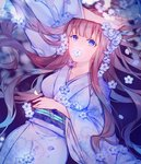 1girl arm_up bangs blue_eyes blue_flower breasts brown_hair collarbone commentary floral_print flower flower_in_mouth highres japanese_clothes kimono long_hair long_sleeves looking_at_viewer lying medium_breasts miyuki_(miyuki0529) mouth_hold obi on_back original print_kimono purple_kimono sash solo very_long_hair wide_sleeves