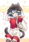 1girl :d bag bangs black_eyes black_hair black_legwear blush commentary eyebrows_visible_through_hair gloves hands_on_headwear hat highres kaban_(kemono_friends) kemono_friends life_neko72 looking_at_viewer notice_lines nyan open_mouth paw_print red_shirt shirt shirt_tucked_in short_hair short_sleeves shorts smile solo tail thighhighs thighs wavy_hair