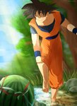 1boy barefoot black_eyes black_hair day dougi dragon_ball dragon_ball_z food fruit grass happy haro_mikan highres leg_up looking_away male_focus outdoors protected_link river rock shaded_face sky smile solo son_gokuu spiked_hair standing sunlight tree twitter_username water watermelon wristband