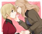 2girls black_shirt blonde_hair blue_eyes brown_jacket cup darjeeling from_side girls_und_panzer hand_on_another's_face holding jacket kay_(girls_und_panzer) long_hair long_sleeves looking_at_another lowres military military_uniform multiple_girls nakaya_106 open_clothes open_jacket red_jacket shirt short_hair smile sweatdrop teacup twitter_username uniform upper_body yuri