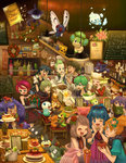 5boys 6+girls ahoge apple arm_warmers axew banner bel_(pokemon) billboard black_gloves black_hair blue_eyes bottle bow bracelet braid brown_eyes brown_hair bucket butterfree cabernet_(pokemon) cake chair christmas_tree closed_eyes covering_face cup dent_(pokemon) dress drinking_straw eating emolga eye_contact flour flower food fruit gift gloves green_eyes green_hair green_necktie hair_bow hair_flower hair_ornament haruka_(pokemon) hat hat_bow highres hikari_(pokemon) holding holding_poke_ball indoors iris_(pokemon) jacket jewelry kasumi_(pokemon) ladle lampent langley_(pokemon) light long_hair looking_at_another menu merry_christmas multiple_boys multiple_girls munchlax napkin napkin_holder necktie one_eye_closed open_mouth oshawott pansage picture_(object) pikachu pink_dress pitcher pizza plaid plaid_skirt poke_ball pokemon pokemon_(anime) pokemon_(creature) purple_eyes purple_hair record red_hair red_necktie restaurant roselia salad sasairebun satoshi_(pokemon) shooti_(pokemon) short_hair shuu_(pokemon) sitting skirt skitty smeargle snivy spoon standing stew takeshi_(pokemon) tepig vanillite virizion wine_bottle wreath zorua