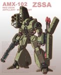 character_name clenched_hands glowing glowing_eyes grey_background gun gundam gundam_unicorn joy_(cyber_x_heaven) mecha missile missile_pod neo_zeon no_humans panzerfaust rocket_launcher shield shotgun solo text thrusters weapon zssa