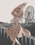 1girl amusement_park animal_ears bare_shoulders belt between_legs boku_no_friend boots bow bowtie brown_ribbon cross-laced_clothes dot_nose elbow_gloves eyebrows_visible_through_hair fence ferris_wheel from_side gloves ground hair_between_eyes hand_between_legs kawanobe kemono_friends light_brown_eyes lonely looking_away looking_up monochrome_background muted_color orange_hair outdoors ribbon roller_coaster sad serval_(kemono_friends) serval_ears serval_print serval_tail shirt shoe_ribbon short_hair sitting sitting_on_fence skirt sleeveless sleeveless_shirt solo spot_color striped_tail tail thighhighs tree white_boots white_footwear white_shirt