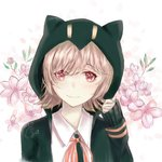 1girl absurdres artist_name black_jacket blush commentary_request danganronpa dot_nose eyebrows_visible_through_hair face flipped_hair floral_background flower highres hood hooded_jacket hoodie jacket light_brown_hair long_sleeves looking_at_viewer medium_hair mu_xue nanami_chiaki pink_eyes pink_flower red_neckwear red_ribbon ribbon shirt signature sleeves_past_wrists smile solo super_danganronpa_2 white_shirt