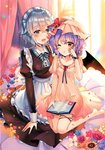 2girls :d ;o apron bangs barefoot bat_wings bed_sheet black_dress black_ribbon blue_eyes blue_flower blue_nails blue_neckwear blue_ribbon blue_rose blush book bow braid breasts commentary_request curtains dress eyebrows_visible_through_hair flower frilled_apron frilled_pillow frills hair_between_eyes hand_on_another's_head hand_up hat hat_flower hat_ribbon highres holding holding_book indoors izayoi_sakuya juliet_sleeves kirero lavender_hair long_sleeves looking_at_another maid maid_apron maid_headdress medium_breasts mob_cap multiple_girls nail_polish neck_ribbon one_eye_closed open_mouth orange_flower parted_lips petals petticoat pillow pink_dress pink_headwear puffy_sleeves purple_flower purple_rose red_bow red_eyes red_flower red_ribbon red_rose remilia_scarlet ribbon rose see-through short_hair short_sleeves silver_hair sitting small_breasts smile sunflower thigh_ribbon thighs touhou twin_braids waist_apron wariza white_apron white_flower wings