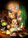 :d black_eyes blue_eyes book brown_eyes cabinet chair curtains desk desk_lamp eevee espeon flareon floral_print glaceon indoors jolteon lamp leafeon matsuri_(matsuike) no_humans open_book open_mouth paper pencil picture_frame pokemon pokemon_(creature) reading sitting smile striped sylveon umbreon vaporeon wallpaper_(object)