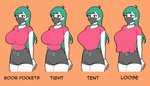 1girl ahoge arms_behind_back black_eyes black_shorts breasts choker collarbone comparison english_commentary eyebrows_visible_through_hair green_hair impossible_clothes impossible_shirt jam-orbital large_breasts long_hair loose_clothes loose_shirt mask orange_background original red_shirt shirt shirt_overhang shirt_tucked_in short_sleeves shorts skin_tight standing surgical_mask t-shirt taut_clothes tented_shirt thick_eyebrows thighs tight_shirt