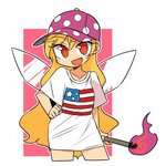 1girl alternate_costume american_flag blonde_hair clownpiece commentary_request contrapposto cropped_legs fairy_wings fang fire hand_on_hip hat holding ini_(inunabe00) long_hair looking_at_viewer multicolored_hair open_mouth pink_background polka_dot purple_hat red_eyes shirt short_sleeves smile solo t-shirt torch touhou transparent_wings two-tone_hair white_background white_shirt wings