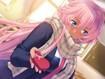 1girl aota_natsu aqua_eyes blurry blush bust dark_skin depth_of_field dutch_angle gift holding incoming_gift indoors long_hair long_sleeves mochizuki_nozomu pink_hair plaid plaid_scarf saimin_class scarf solo very_long_hair