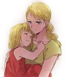 2girls bare_arms blonde_hair blue_eyes carrying closed_eyes dress eyebrows_visible_through_hair fullmetal_alchemist gradient gradient_background green_shirt happy hug light_smile long_hair looking_down mother_and_daughter multiple_girls pink_dress riru sara_rockbell shirt short_hair simple_background sleeveless sleeveless_dress smile upper_body white_background winry_rockbell younger