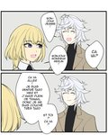 1boy 1girl 2koma bangs blonde_hair blue_eyes braid closed_eyes colored comic english fate/grand_order fate_(series) french grey_background hair_between_eyes jeanne_d'arc_(fate) jeanne_d'arc_(fate)_(all) kyou_(ningiou) merlin_(fate) open_mouth partially_translated short_hair single_braid smile speech_bubble the_office translation_request twitter_username white_hair
