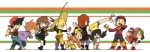 4girls 5boys blue_(pokemon) brown_hair crystal_(pokemon) cue_stick fishing_rod gold_(pokemon) hat highres holding holding_fishing_rod holding_poke_ball long_hair long_image multiple_boys multiple_girls odamaki_sapphire ookido_green poke_ball pokemon pokemon_special red_(pokemon) ruby_(pokemon) silver_(pokemon) usikani waist_poke_ball wide_image yellow_(pokemon)