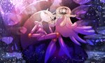1girl antennae blue_eyes chin_rest crossed_legs floating furry gen_7_pokemon hand_on_own_face hand_up looking_at_viewer multicolored multicolored_eyes nihilego no_humans open_mouth outdoors pheromosa pink_eyes pokemon pokemon_(creature) sitting tentacles ultra_beast yukifuri_tsuyu