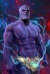 1boy artist_name avengers:_infinity_war bald blue_eyes briefs closed_mouth cowboy_shot deviantart_username electricity gem male_focus marvel muscle night night_sky nipples signature sky solo standing star_(sky) starry_sky thanos twitter_username underwear zanenox
