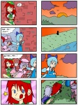 4girls 4koma :q >_< ? bat_wings beret blue_eyes blue_hair braid brick_wall china_dress chinese_clothes cirno closed_eyes cloud comic crossed_arms dress drooling evening eyebrows finnish_text flower fujiya gloom_(expression) gradient gradient_background grass hat hong_meiling izayoi_sakuya left-to-right_manga licking_lips long_hair maid maid_headdress mountain multiple_4koma multiple_girls open_mouth peko-chan purple_hair red_eyes red_hair remilia_scarlet ribbon river rock saliva setz short_hair silver_hair sitting sleeping smile star sunset thick_eyebrows thinking tongue tongue_out touhou tree twin_braids wings zzz