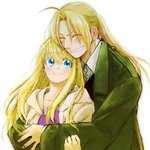 1boy 1girl antenna_hair blonde_hair blue_eyes closed_eyes couple earrings edward_elric eyebrows_visible_through_hair fingernails floating_hair fullmetal_alchemist green_jacket grin happy hetero highres hug hug_from_behind jacket jewelry long_hair looking_at_another ponytail purple_shirt shirt simple_background smile sparkle tsukuda0310 upper_body white_background white_jacket white_shirt winry_rockbell