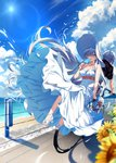 1boy 1girl anastasia_(fate/grand_order) bangle bangs bare_arms bare_shoulders beach bicycle black_shirt blue_eyes blue_sky blurry blurry_foreground bracelet breasts cleavage cloud cloudy_sky collarbone commentary_request day depth_of_field dress eyebrows_visible_through_hair fan fate/grand_order fate_(series) fingernails flower food ground_vehicle hair_over_one_eye hamada_pochiwo high_heels highres holding holding_fan holding_food horizon jewelry kadoc_zemlupus long_hair medium_breasts multiple_riders ocean outdoors paper_fan popsicle sand sandals shirt short_sleeves silver_hair sky strapless strapless_dress sunflower tongue tongue_out very_long_hair water white_dress white_footwear yellow_flower