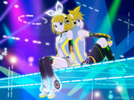 1boy 1girl aqua_eyes arm_warmers back-to-back blonde_hair brother_and_sister centrist_8 hair_ornament hair_ribbon hairclip headphones kagamine_len kagamine_len_(append) kagamine_rin kagamine_rin_(append) leg_warmers navel ribbon short_hair shorts siblings smile twins virtual_reality vocaloid vocaloid_append wallpaper