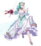 1girl aqua_eyes aqua_hair bare_shoulders bridal_veil bride collarbone dress feather_trim fire_emblem fire_emblem:_souen_no_kiseki fire_emblem_heroes flower full_body hair_ornament headpiece high_heels highres holding holding_sword holding_weapon long_hair looking_away official_art open_mouth pikomaro shiny shiny_hair sigrun skirt_hold solo sword transparent_background veil weapon wedding_dress white_dress