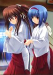 2girls absurdres belt blue_hair brown_eyes hair_ribbon highres huge_filesize indoors japanese_clothes little_busters! long_hair miko multiple_girls na-ga natsume_rin nishizono_mio ponytail red_eyes ribbon white_ribbon