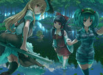 5girls :t apron aqua_eyes ass black_hair black_legwear blonde_hair blue_eyes blue_hair blue_legwear bow breasts broom broom_riding camouflage camouflage_shirt camouflage_shorts day detached_sleeves eno_(whiskeyne) forest green_hat hair_bobbles hair_bow hair_ornament hair_tubes hakurei_reimu hat holding_hands kawashiro_nitori kirisame_marisa leaf lily_pad long_hair looking_at_another looking_at_viewer looking_back medium_breasts moriya_suwako multiple_girls nature outdoors parted_lips partially_submerged pout puffy_short_sleeves puffy_sleeves red_skirt red_vest river rope shimenawa short_hair short_sleeves shorts skirt sleeves_rolled_up smile striped striped_skirt striped_vest swimming thighhighs touhou two_side_up vest wading waist_apron white_legwear witch_hat yasaka_kanako yellow_eyes zettai_ryouiki