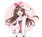 1girl :d a.i._channel arm_up bare_shoulders black_bow blush bow breasts brown_hair commentary detached_sleeves diagonal-striped_background diagonal_stripes green_eyes hair_ribbon hairband head_tilt highres hiroshi_(jasinloki) kizuna_ai long_hair long_sleeves multicolored_hair open_mouth pink_background pink_hair pink_hairband pink_ribbon ribbon round_teeth sailor_collar shirt short_shorts shorts sleeveless sleeveless_shirt sleeves_past_wrists small_breasts smile solo streaked_hair striped striped_background striped_bow teeth two-tone_background upper_teeth very_long_hair virtual_youtuber white_background white_sailor_collar white_shirt white_shorts white_sleeves