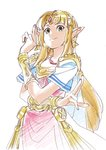 artist_request blonde_hair blue_eyes bracer circlet dress earrings forehead_jewel gown highres jewelry long_hair looking_at_viewer pointy_ears princess_zelda super_smash_bros. the_legend_of_zelda the_legend_of_zelda:_a_link_between_worlds tiara triforce tunic