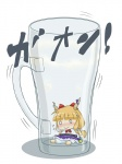 1girl bad_id bad_pixiv_id bloomers bow chain chibi cup hair_bow horns ibuki_suika in_container in_cup minigirl nyontase ribbon solo touhou translation_request underwear