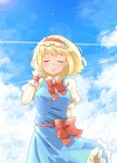 1girl :> alice_margatroid arnest bangs blonde_hair blue_dress blue_sky blush bow bowtie breasts closed_eyes cloud commentary_request condensation_trail cowboy_shot day dress eyebrows_visible_through_hair facing_viewer frilled_hairband frills hairband hand_up highres large_breasts lens_flare lolita_hairband outdoors petticoat pinafore_dress puffy_short_sleeves puffy_sleeves red_bow red_hairband red_neckwear red_sash sash shirt short_hair short_sleeves sky smile solo standing touhou white_shirt wrist_cuffs