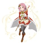 1girl boots breasts brown_boots cape cleavage dress full_body grey_legwear hair_ornament highres holding holding_staff lisbeth looking_at_viewer medium_breasts midriff navel one_leg_raised open_mouth pink_hair red_dress red_eyes short_dress short_hair solo staff standing stomach sword_art_online thighhighs transparent_background zettai_ryouiki