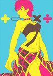 1girl jojo_no_kimyou_na_bouken limited_palette math midriff pink_hair ruchi short_hair skirt solo trish_una