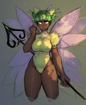 1girl absurdres artist_name bangs blue_eyes blunt_bangs commentary cropped_legs dark_skin double_bun english_commentary fairy fairy_wings green_eyes green_hair hair_ornament hair_stick hand_up highres looking_away matilda_vin multicolored multicolored_eyes original puffy_short_sleeves puffy_sleeves short_hair short_sleeves sketch solo wings
