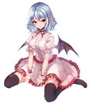 1girl bat_wings black_legwear blue_hair blush commentary dress eyebrows_visible_through_hair frills full_body hair_between_eyes highres junior27016 looking_at_viewer neck_ribbon no_hat no_headwear no_shoes pink_dress pointy_ears puffy_short_sleeves puffy_sleeves red_eyes red_neckwear red_ribbon remilia_scarlet ribbon short_hair short_sleeves simple_background sitting smile solo thighhighs touhou wariza white_background wings wrist_cuffs zettai_ryouiki